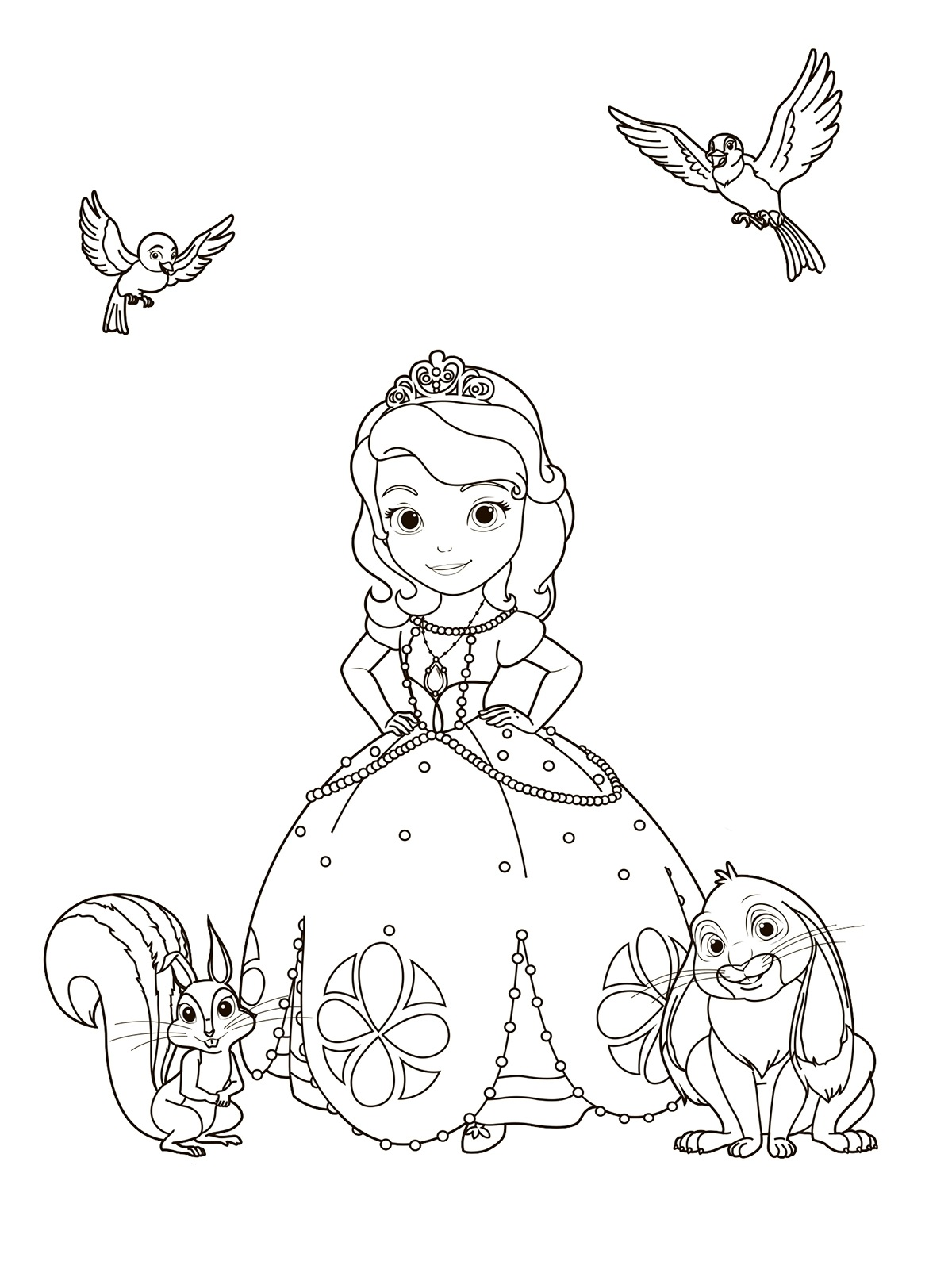 Sofia the First coloring pages for girls to print for free