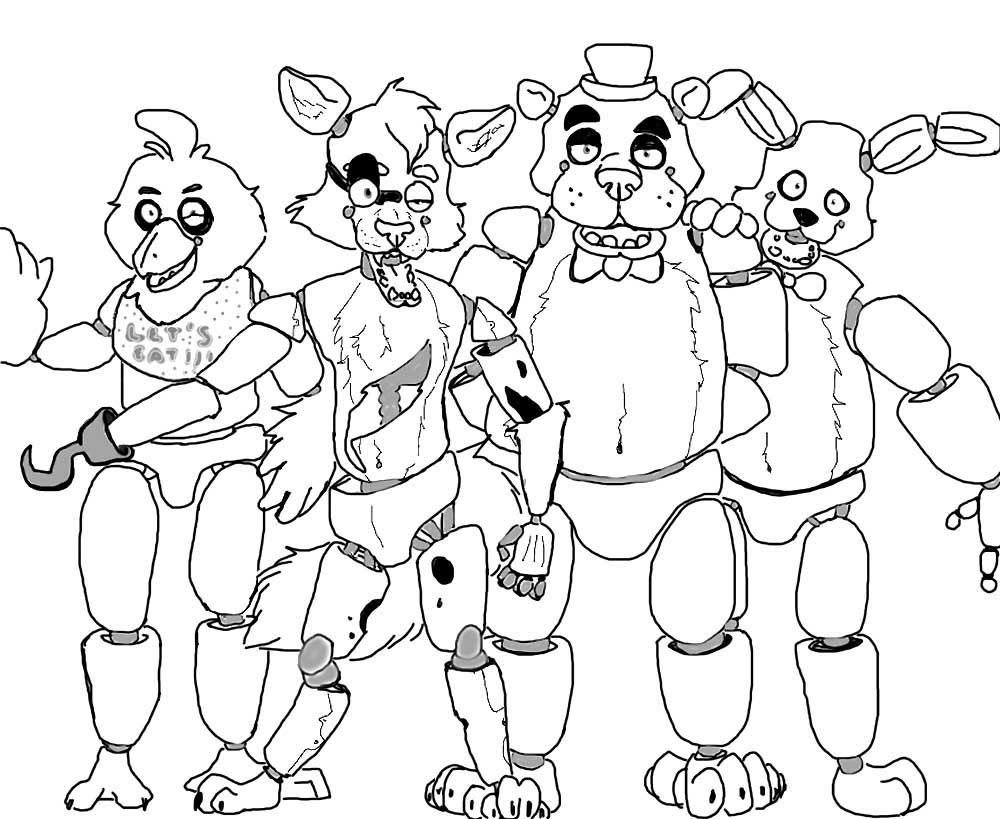 Animatronics coloring pages to