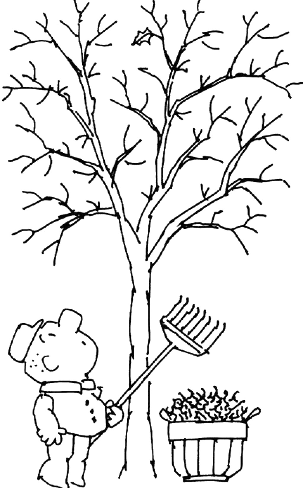 Tree without leaves coloring page to print and download ...