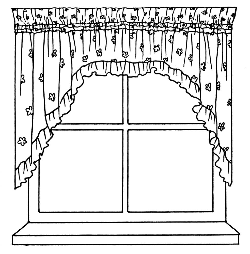 Curtain coloring pages to download