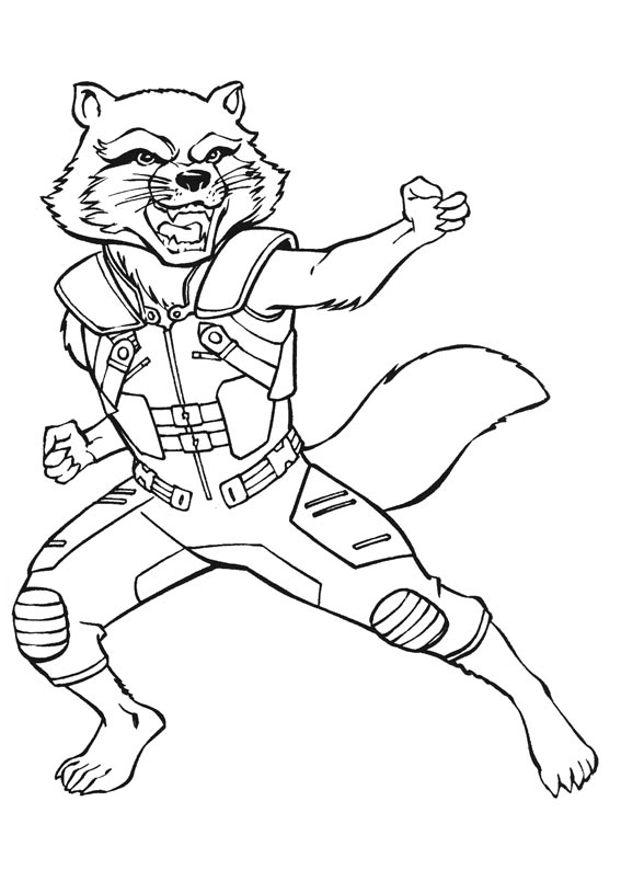 rocket raccoon coloring pages | Guardians of the Galaxy coloring pages to download and ...