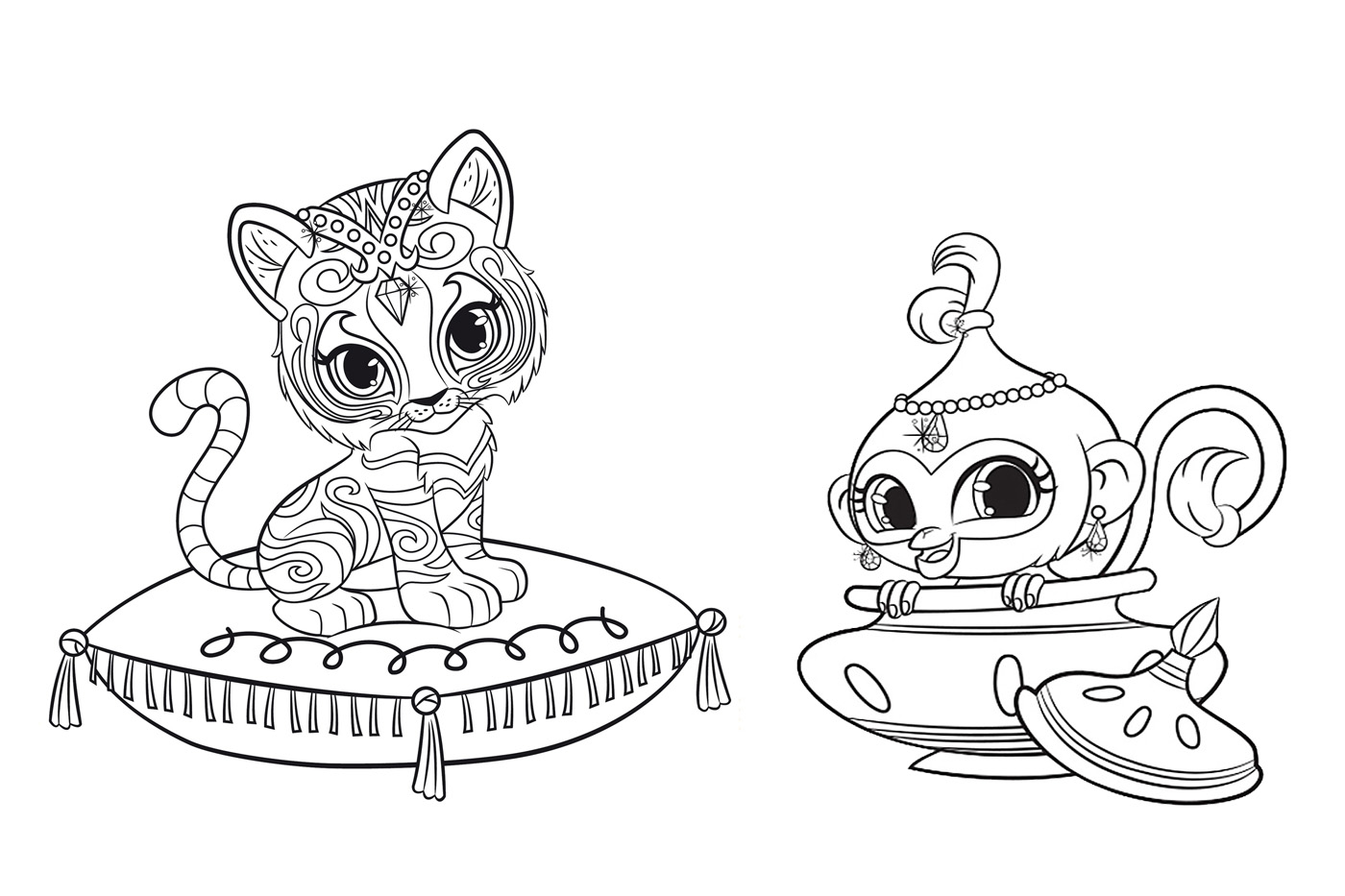 Coloring: Shimmer And Shine Coloring Pages To Download And Print For