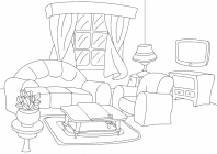 Living room coloring pages