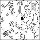 Happy new year coloring pages