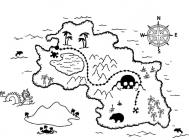 Treasure map coloring pages