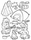 Camping gear coloring pages