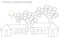 Village scene coloring pages