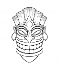 Hawaiian tiki mask coloring pages