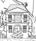 Scary haunted house coloring pages