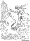 Realistic mermaid coloring pages