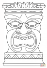 Hawaiian tiki mask coloring pages