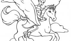 Barbie and horse coloring pages