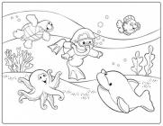 Diving coloring pages