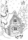 Winter house coloring pages