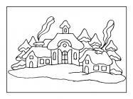 Winter landscape coloring pages