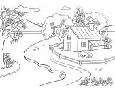 Spring landscape coloring pages