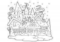 Winter city coloring pages