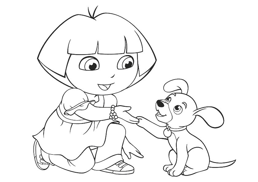Girl With Puppy Coloring Pages To Download And Print For Free
