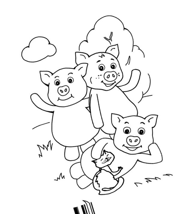 Three Little Pigs Coloring Pages for childrens printable ...