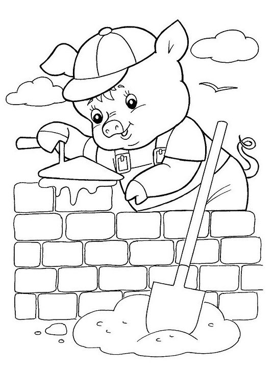 Three Little Pigs Coloring Pages for childrens printable for free