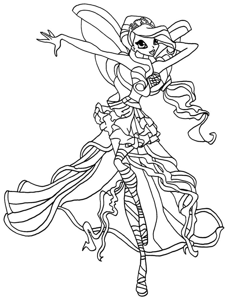 Winx princess coloring pages download and print for free for Winx club bloom coloring pages