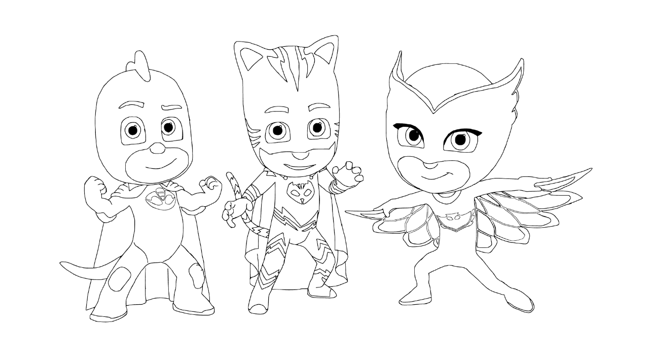 PJ Masks coloring pages to download and print for free