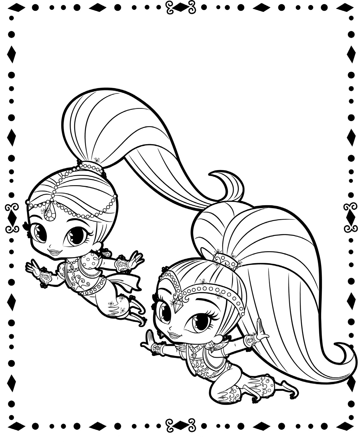 Wild image throughout shimmer and shine printable coloring pages