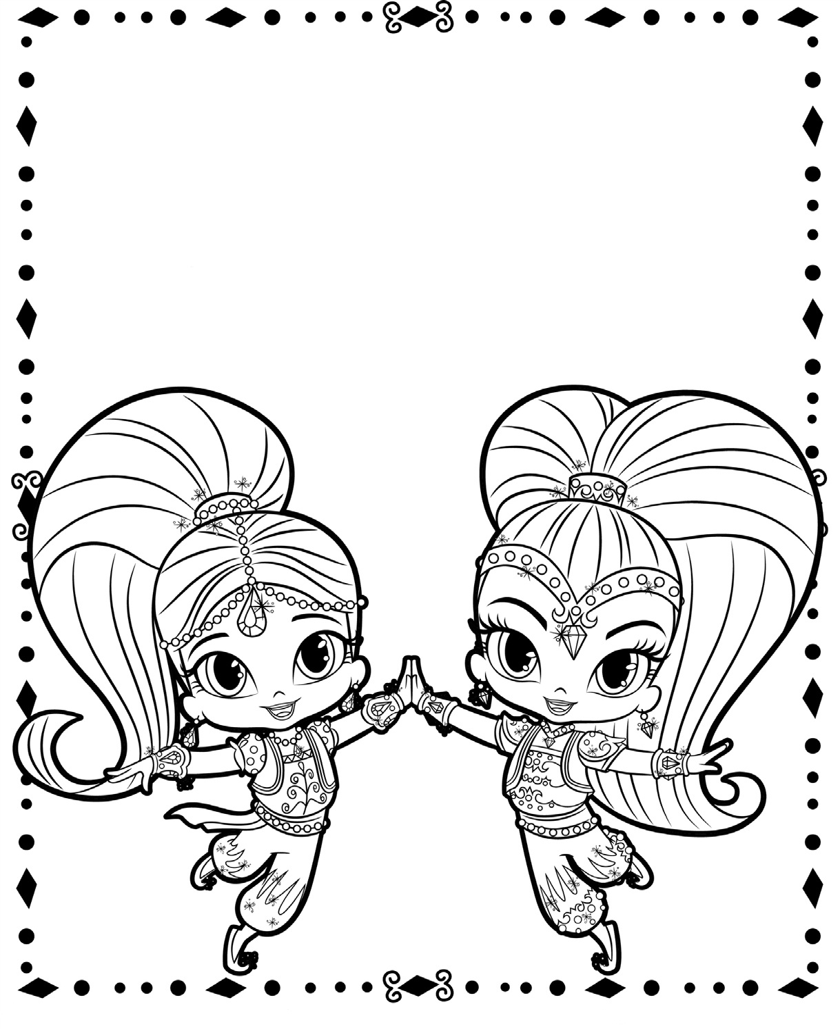 This is a graphic of Selective shimmer and shine coloring book